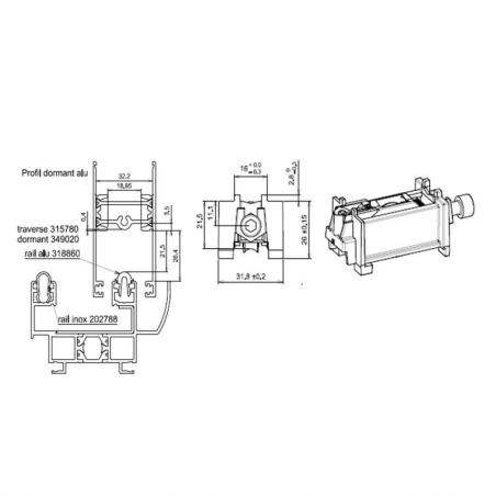 Chariot roulette simple galet  pour baie vitrée GAU01263