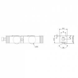 Chariot galet double roulettes réglable  pour coulissant, baie vitrée GAU 01249