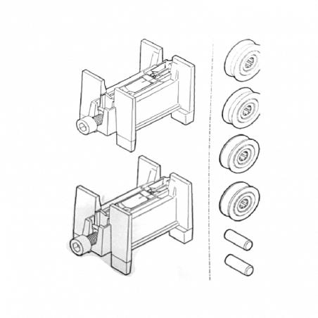Roulette baie vitrée Kit 2 chariots simple roulette rénovation coulissant alu GAU01266